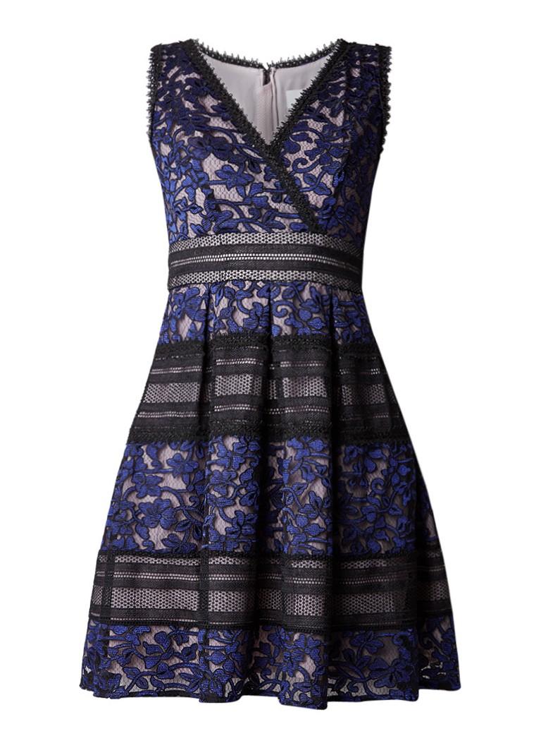 Reiss Tally A-lijn jurk van kant donkerblauw