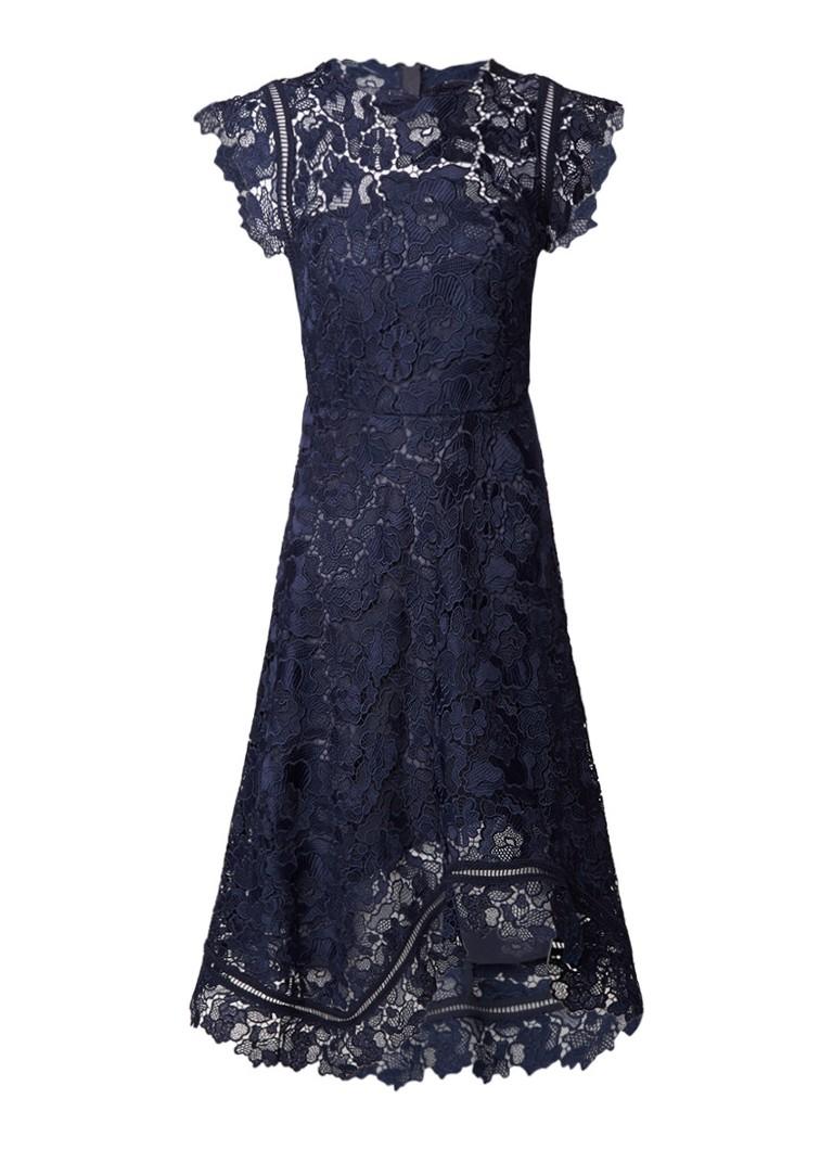 Reiss Lucy A-lijn jurk van gebloemd kant donkerblauw