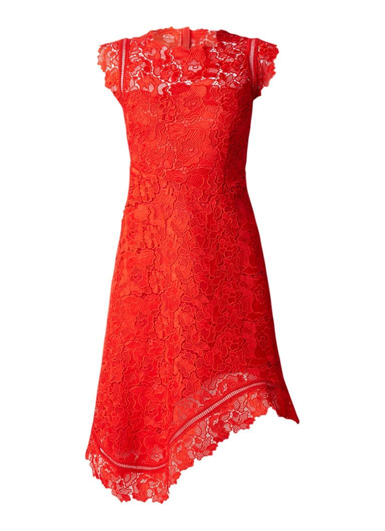Reiss Lucy asymmetrische jurk met gebloemd kant rood