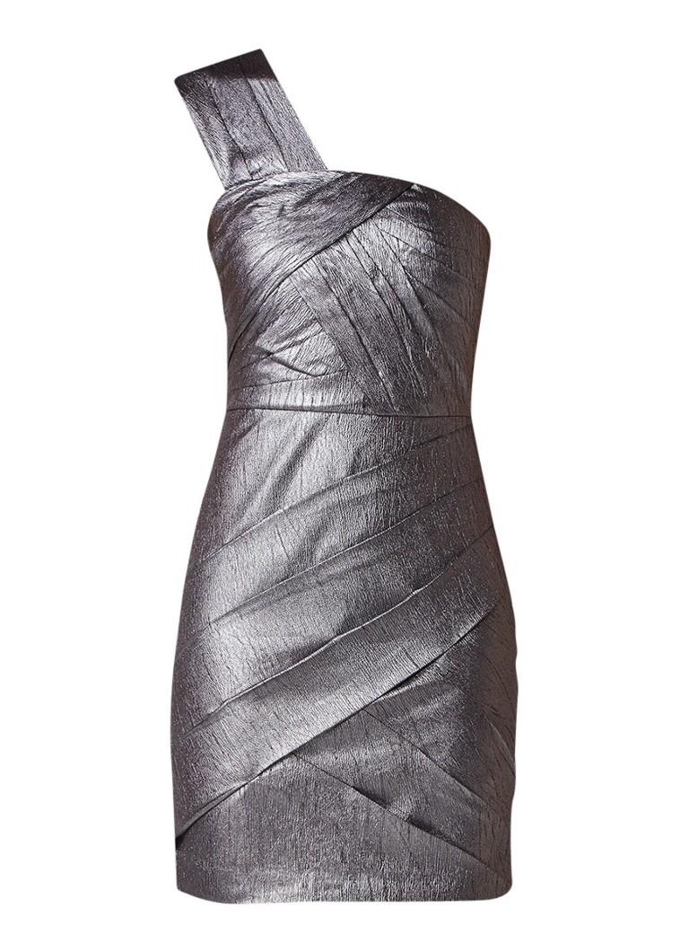 Reiss Uma one shoulder jurk met metallic finish zilver