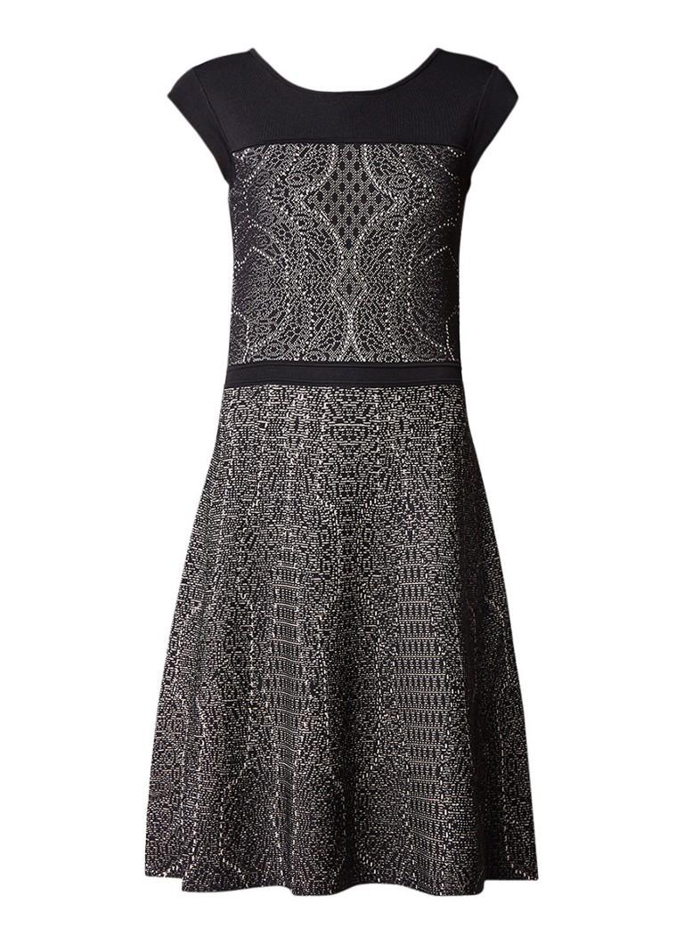 Reiss Odealia A-lijn jurk met jacquard zwart
