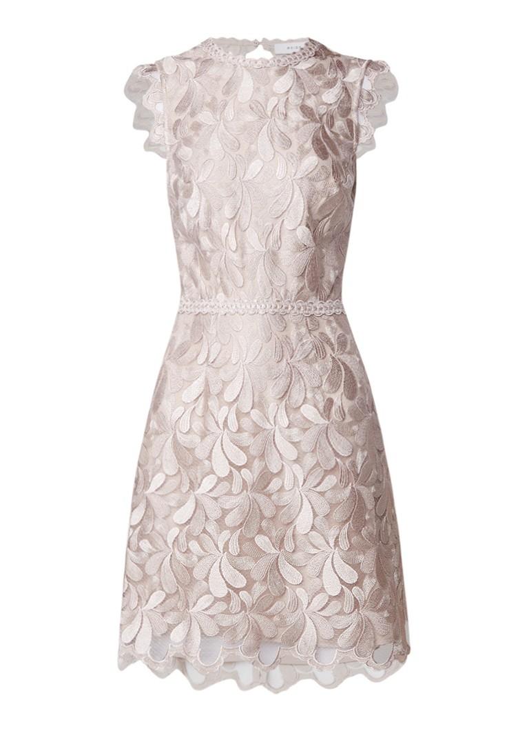 Reiss Sami mini-jurk met rugdecolleté en bloemenborduring creme