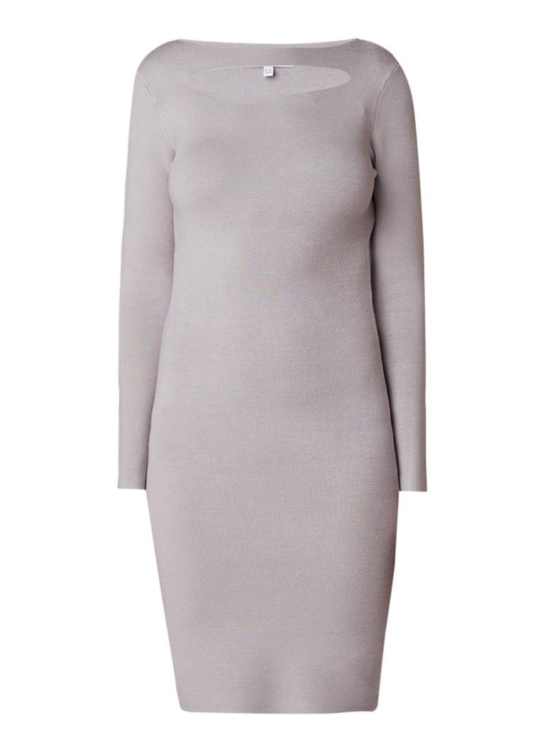 Reiss Audrey fijngebreide jurk met cut-out taupe