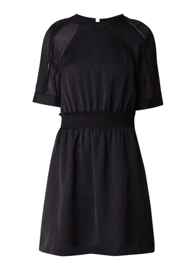 Reiss Myla A-lijn jurk met opengewerkte lijnen zwart