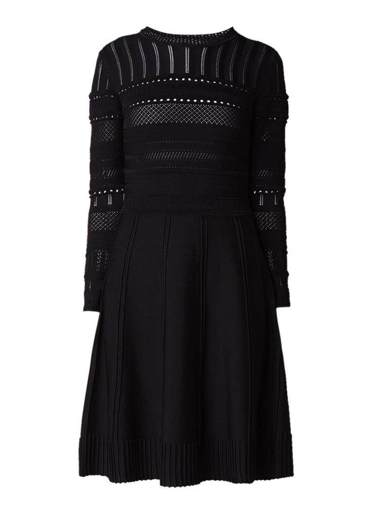 Reiss Darcie A-lijn jurk met opengewerkt dessin zwart