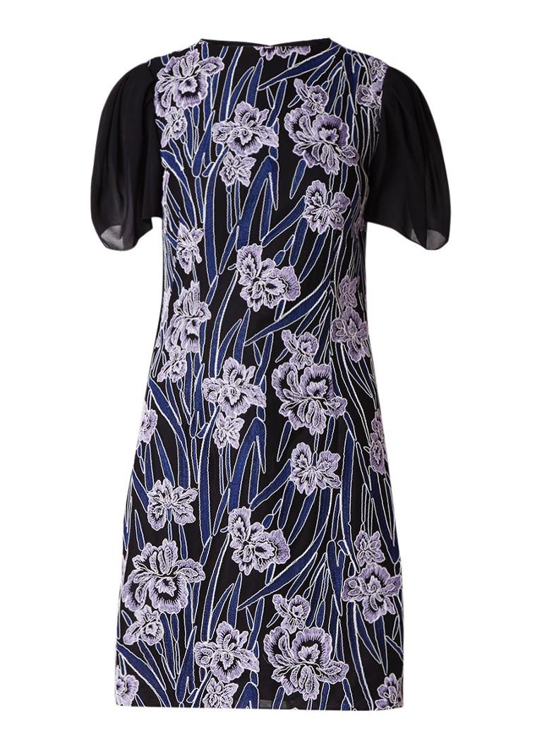 Reiss Estelle mini-jurk met bloemborduring zwart