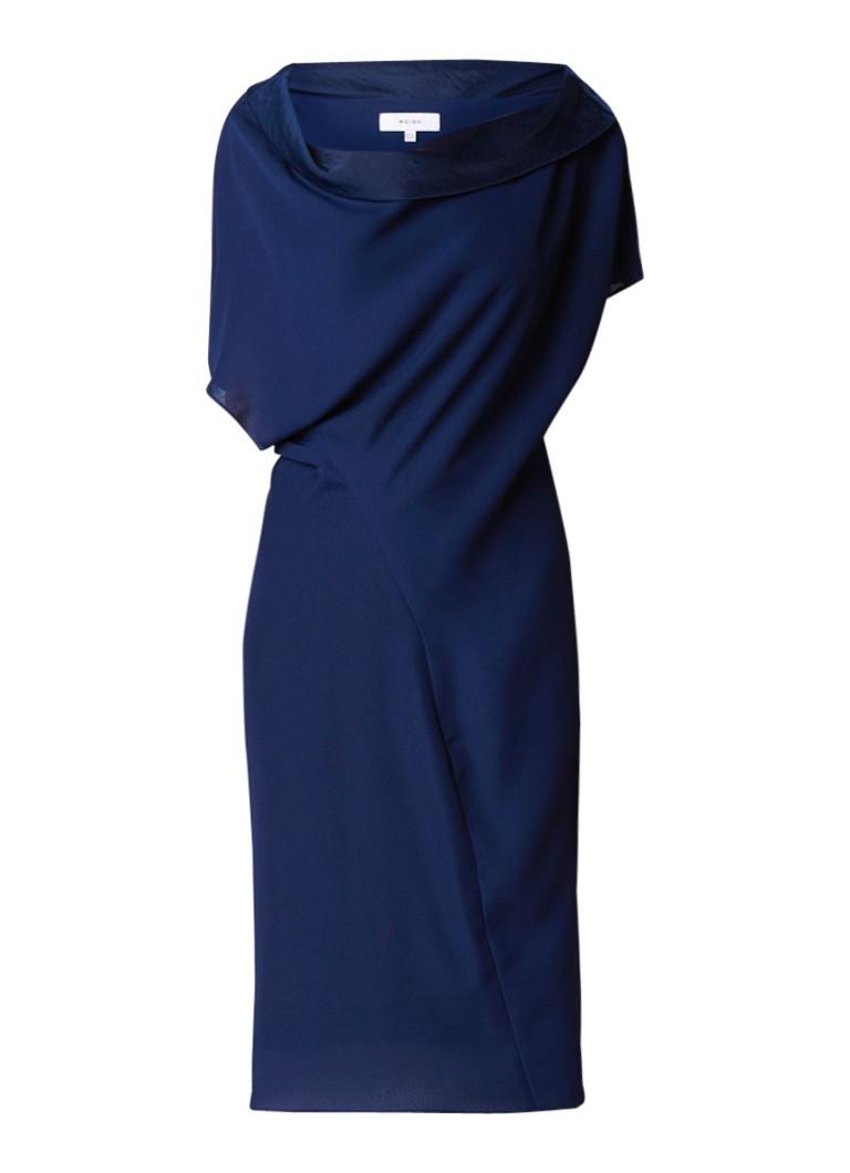 Reiss Camilia jurk van crêpe met watervalhals donkerblauw