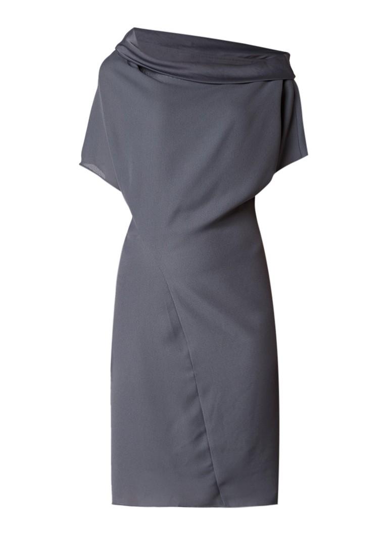 Reiss Camilia jurk van crêpe met draperie grijs