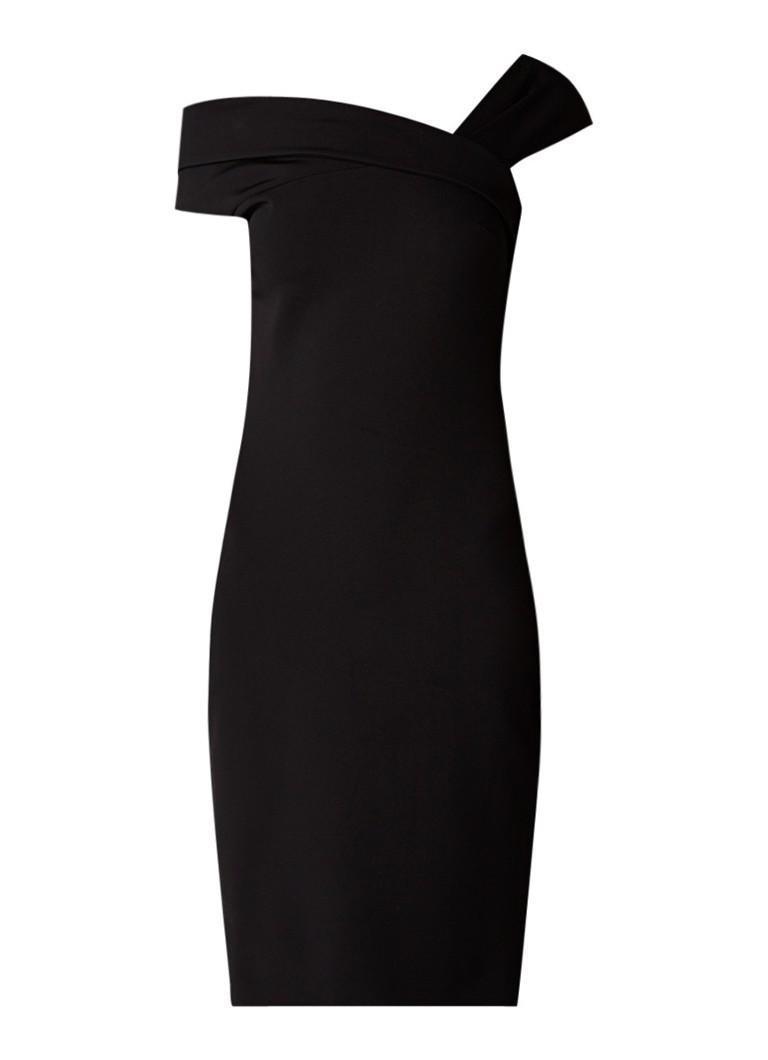 Reiss Bardot midi-jurk met asymmetrische halslijn zwart