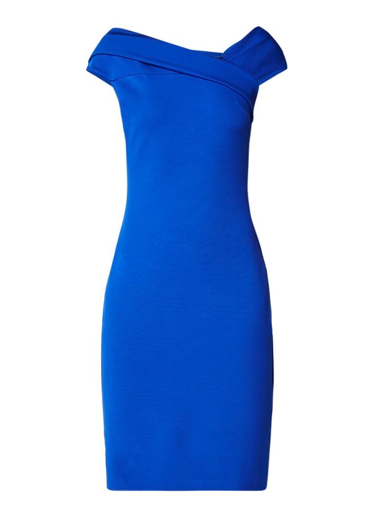 Reiss Lyn kokerjurk met asymmetriche halslijn kobaltblauw