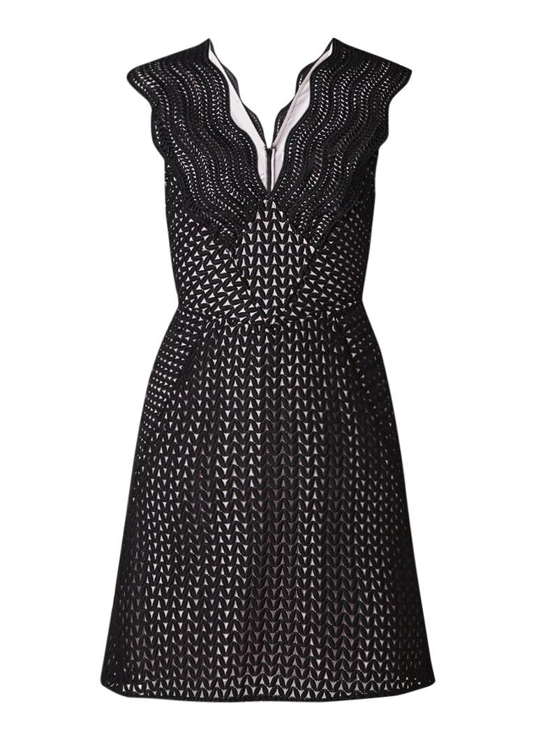 Reiss Marianna A-lijn jurk van kant zwart