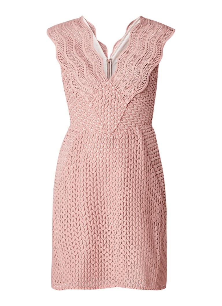 Reiss Marianna A-lijn jurk van kant oudroze