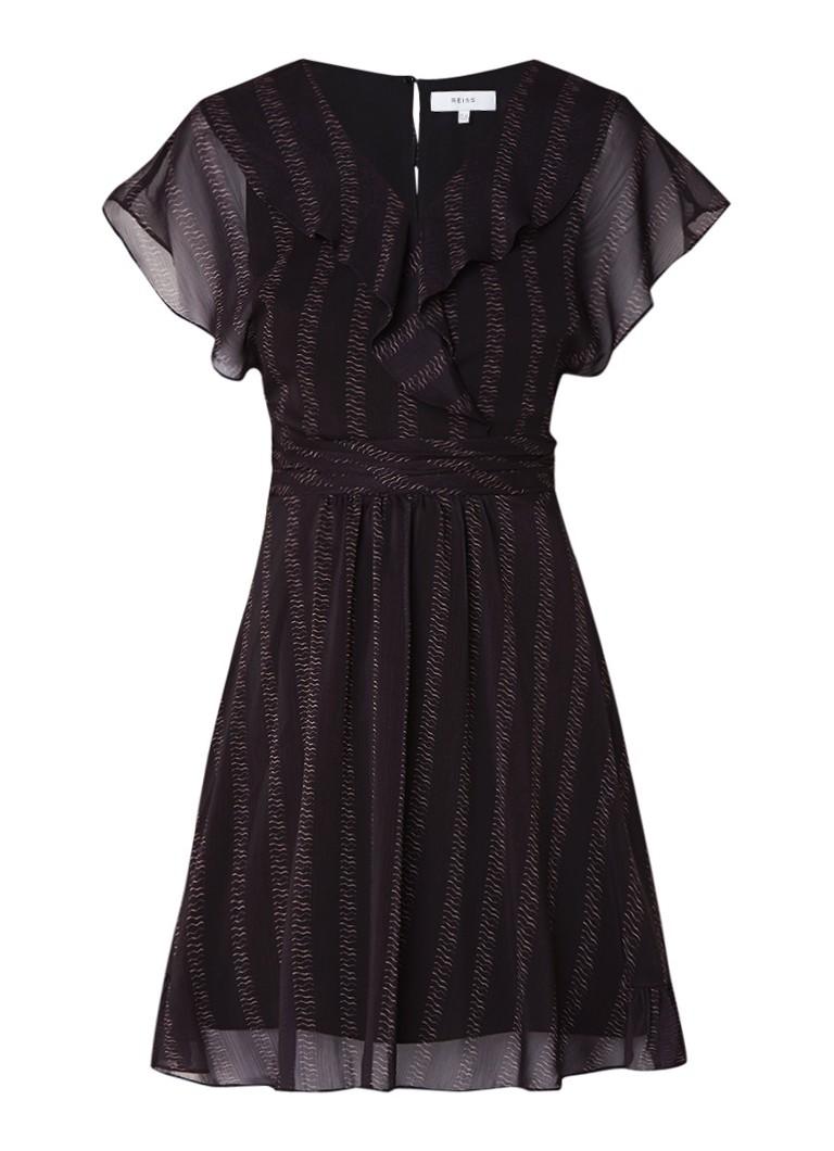 Reiss Adie A-lijn jurk met volants en dessin zwart