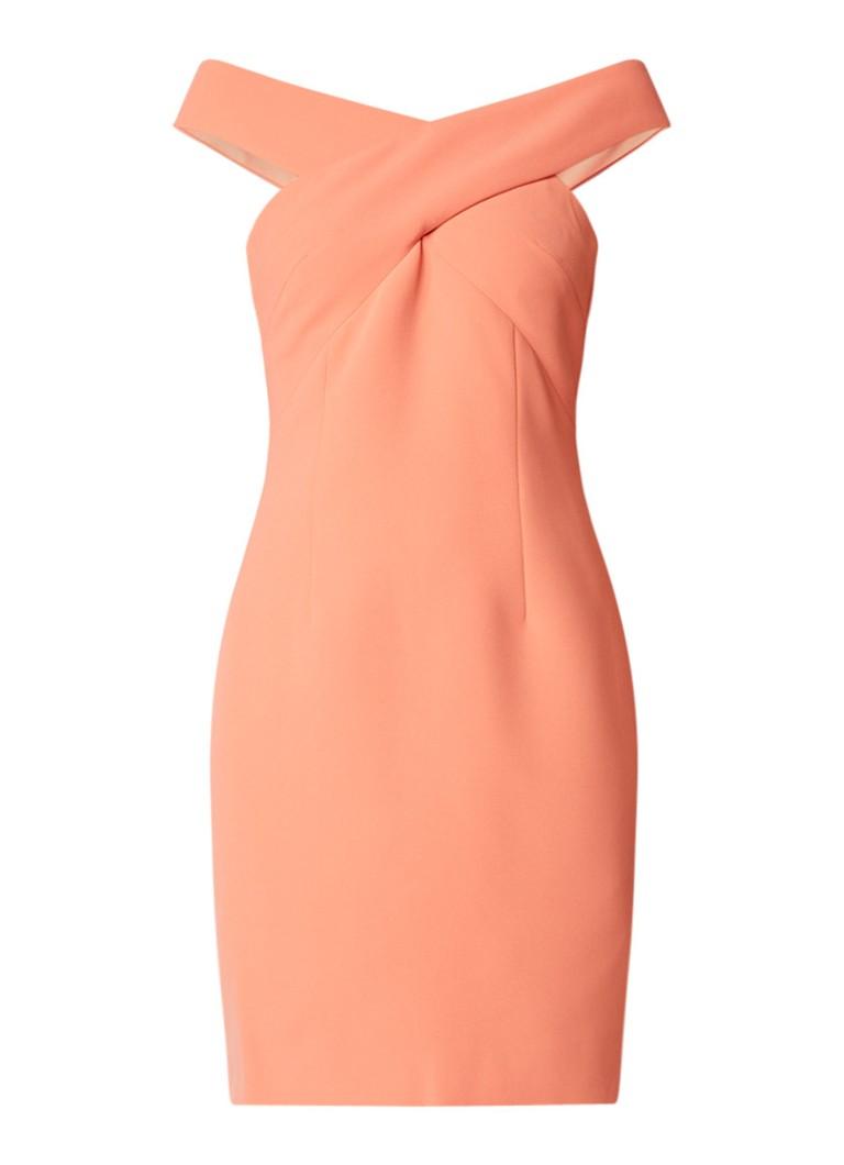 Reiss Darina off shoulder kokerjurk met gekruist detail oranje