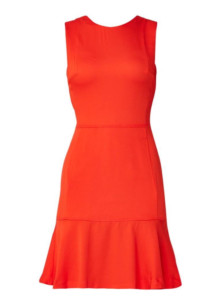 Reiss Jackie mouwloze midi-jurk met volant en steekzakken oranjerood