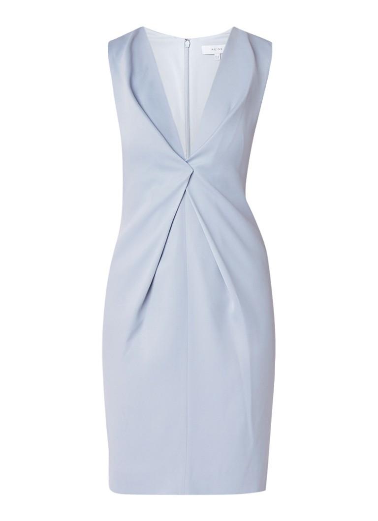 Reiss Mosaic gedrapeerde midi-jurk lichtblauw