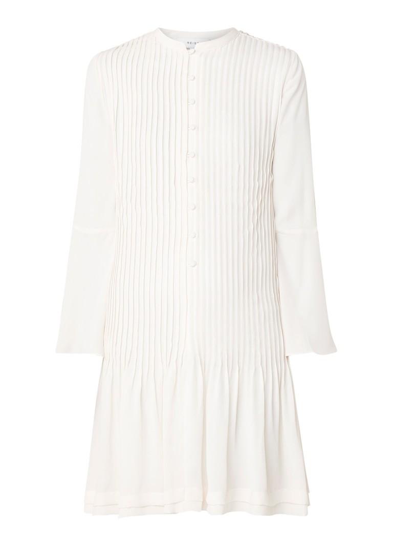 Reiss Sylvan geplisseerde blousejurk met volantmouw gebroken wit