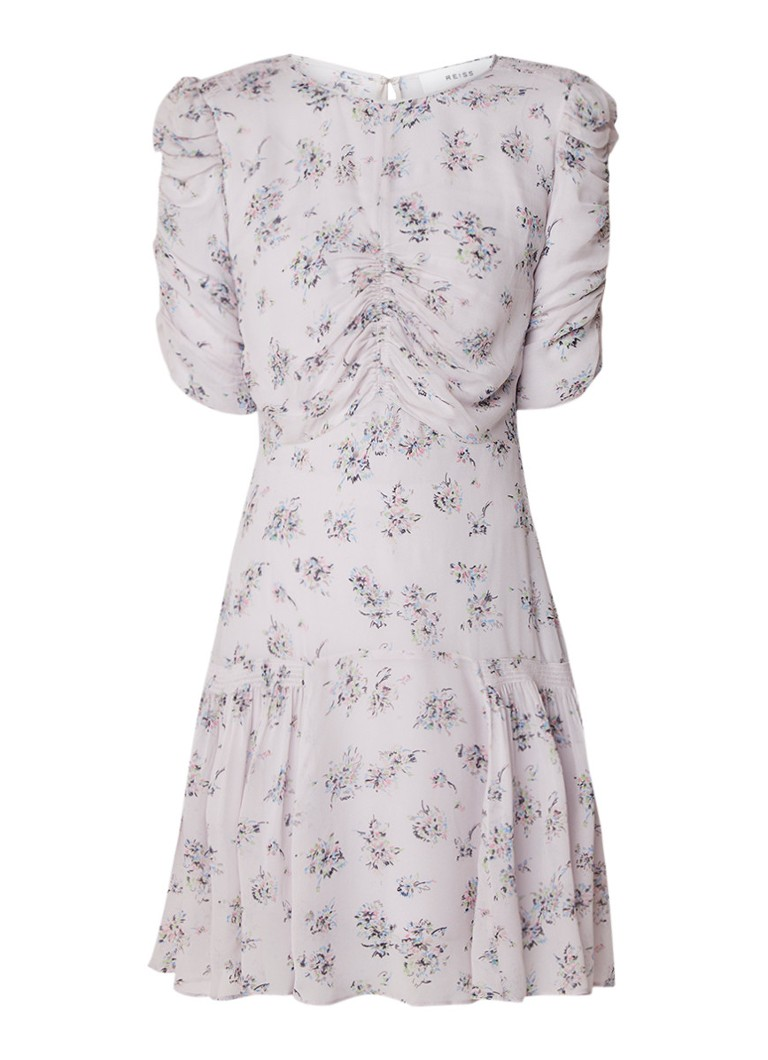 Reiss Rae midi-jurk van chiffon met gesmockte details lila
