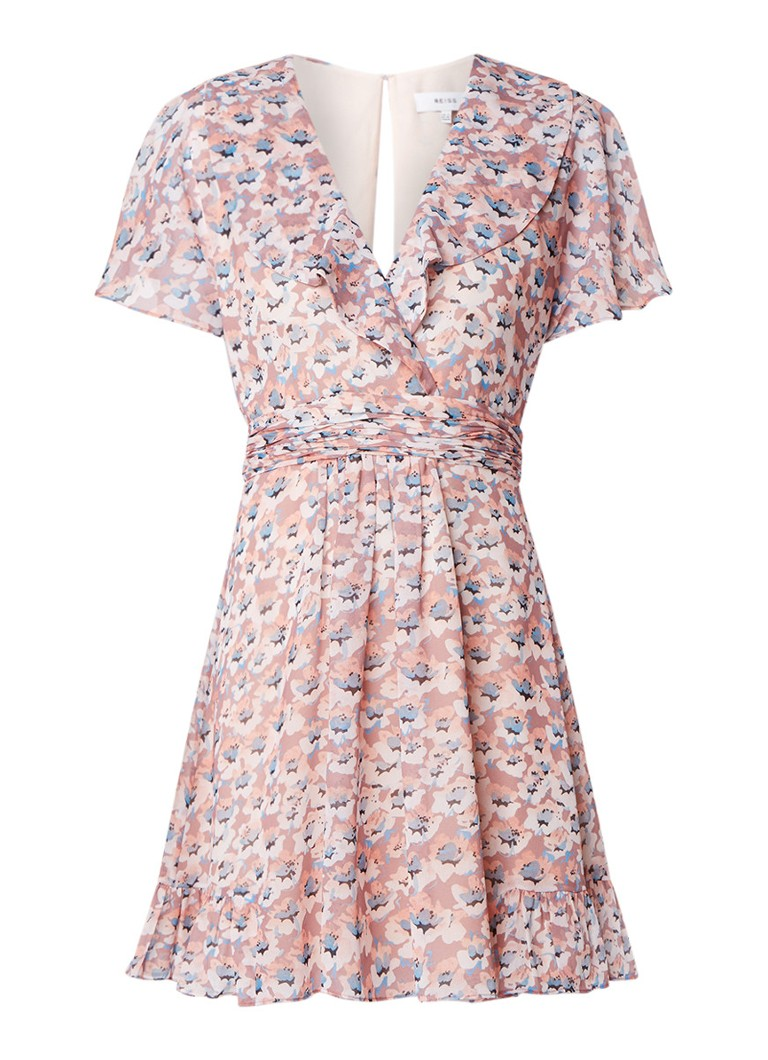 Reiss Aime Ditsy A-lijn jurk van chiffon taupe