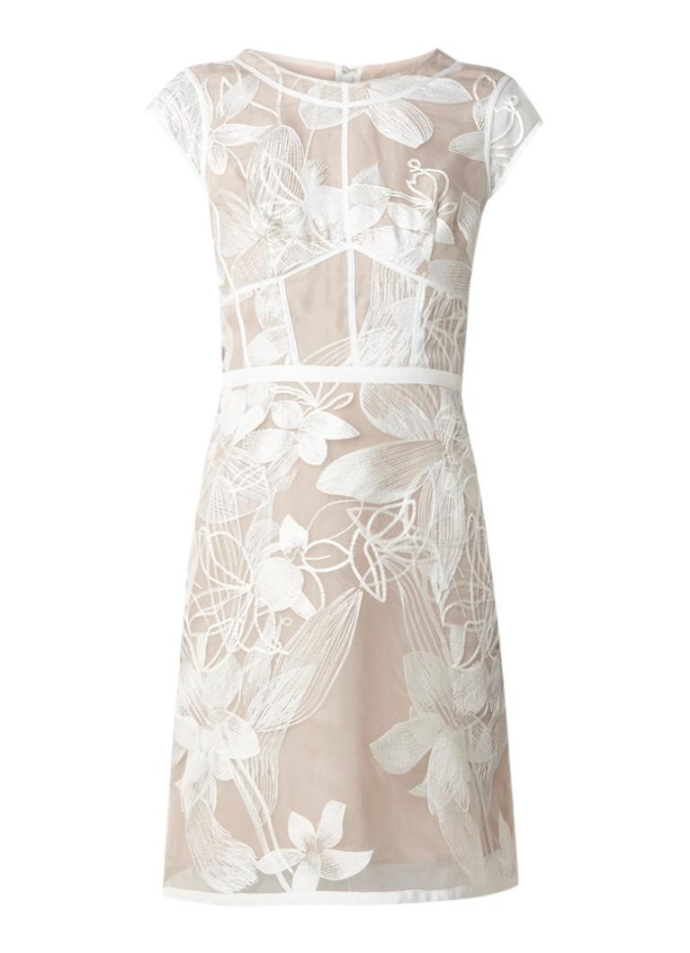 Reiss Ines gebloemde midi-jurk van semi-transparant zijde hazelnootbruin