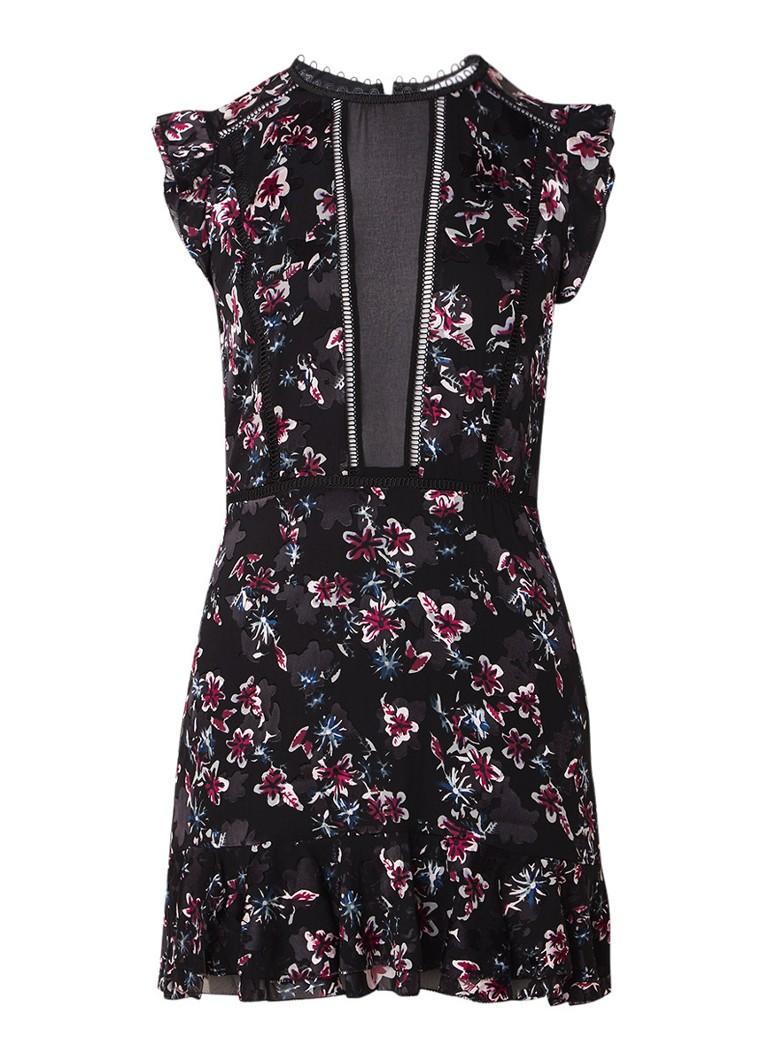 Reiss Alexandra mini-jurk met gebloemd burn-out dessin zwart