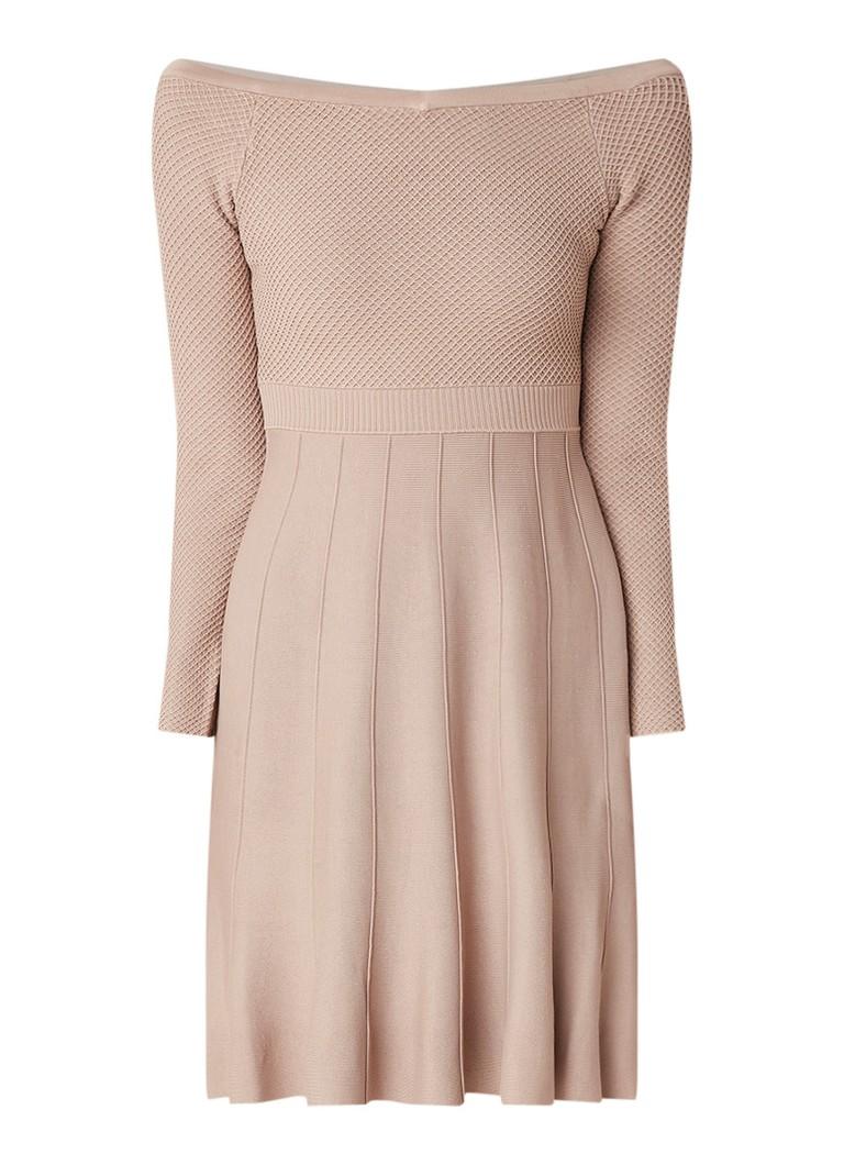 Reiss Astra off shoulder A-lijn jurk met ingebreid dessin beige
