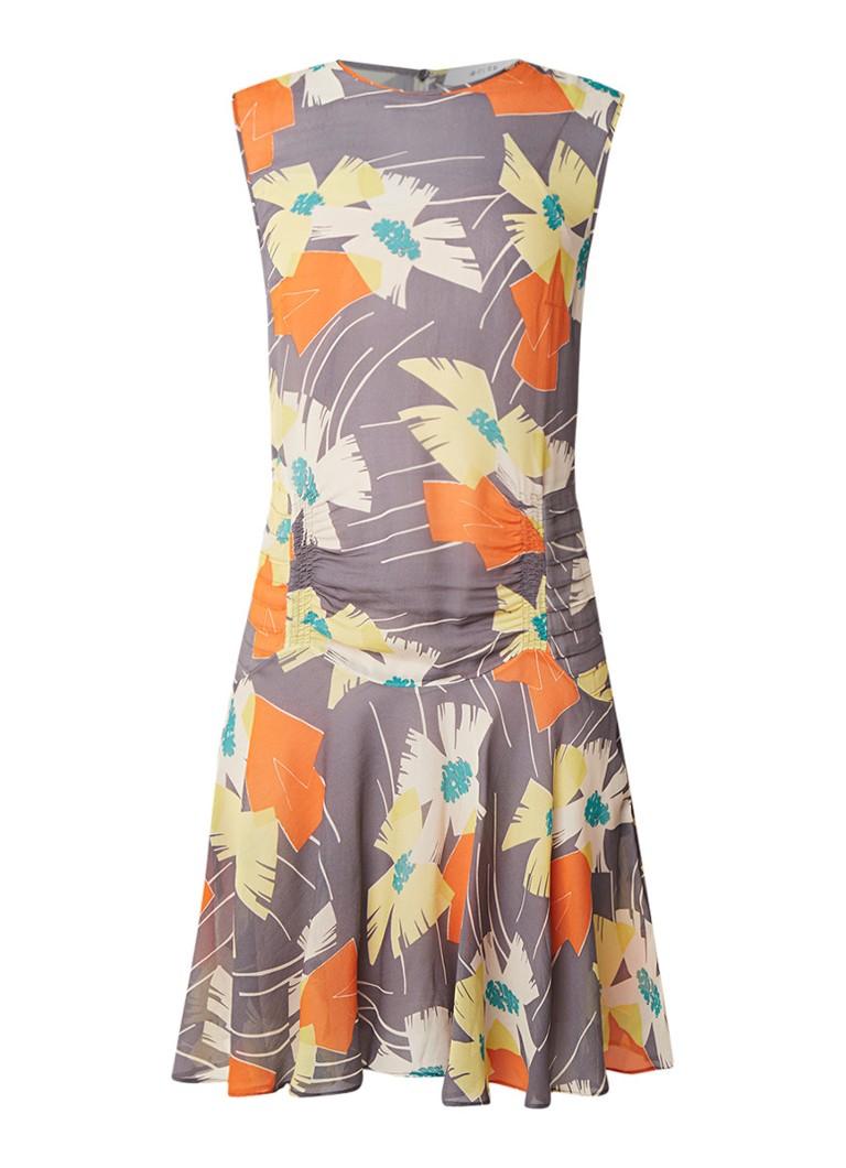 Reiss Remi semi-transparante jurk met abstract bloemendessin grijs