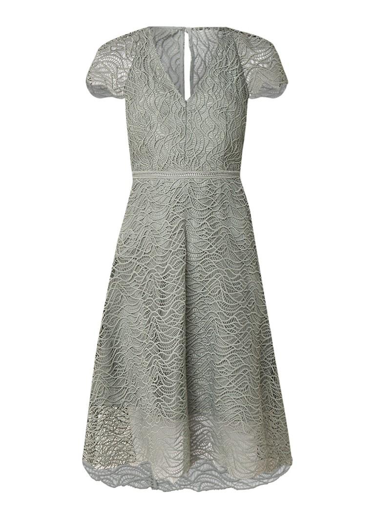 Reiss Arielle A-lijn jurk van kant met onderjurk lindegroen