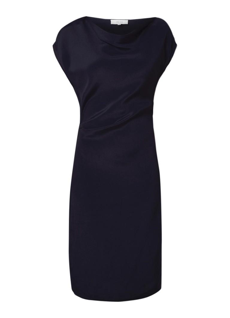 Reiss Lore midi-jurk met watervalhals en kapmouw donkerblauw