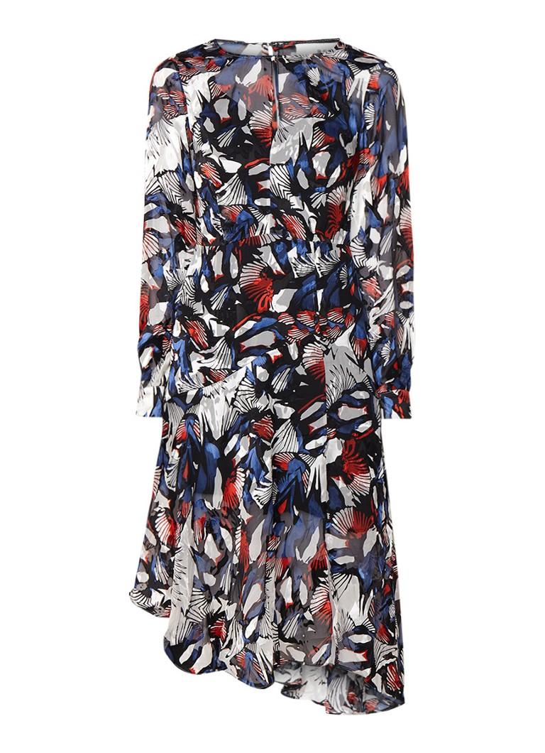 Reiss Aria midi-jurk in zijdeblend met burnout dessin multicolor