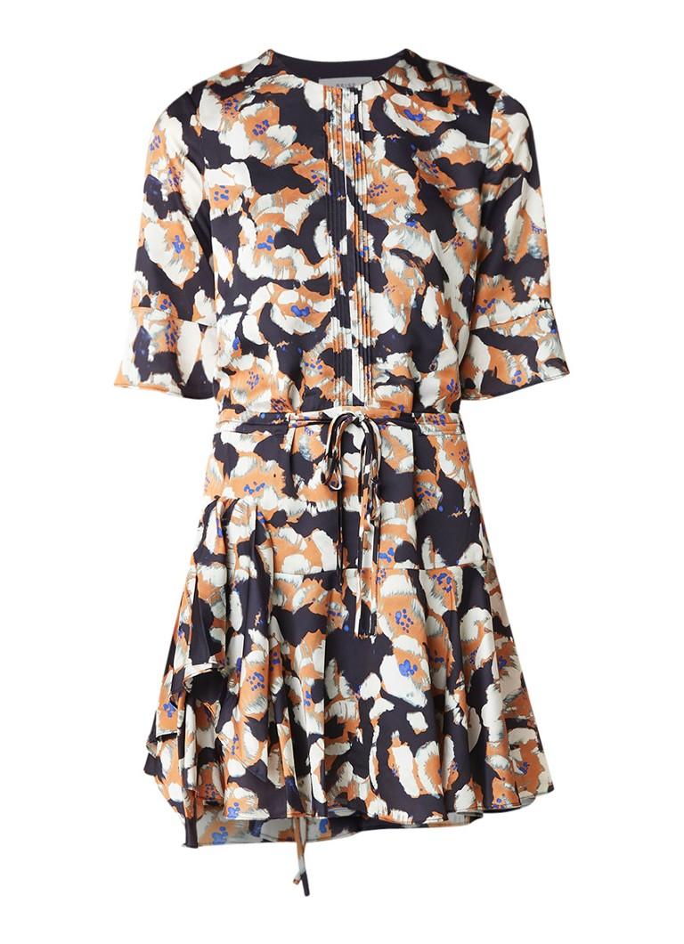 Reiss Kianna A-lijn jurk van satijn met bloemendessin donkerblauw