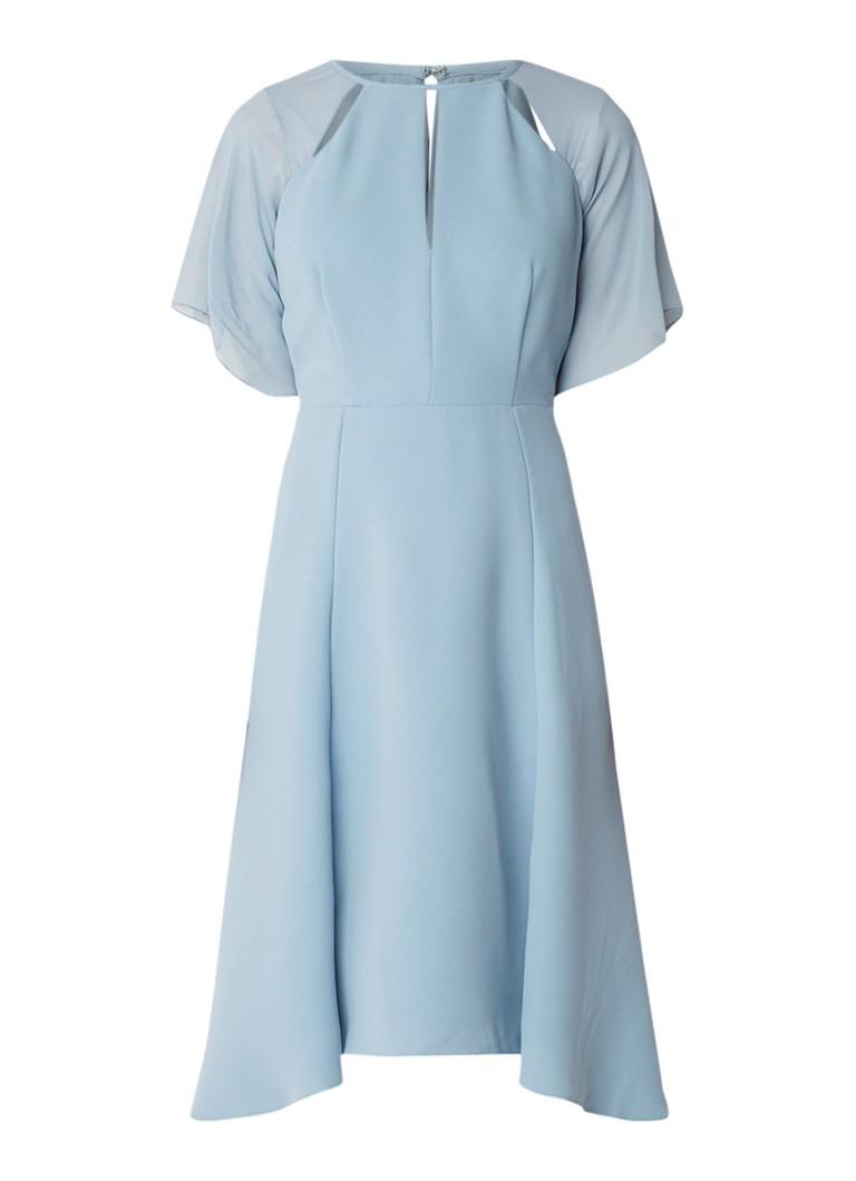 Reiss Tavia A-lijn jurk met cut out en semi-transparante mouw lichtblauw