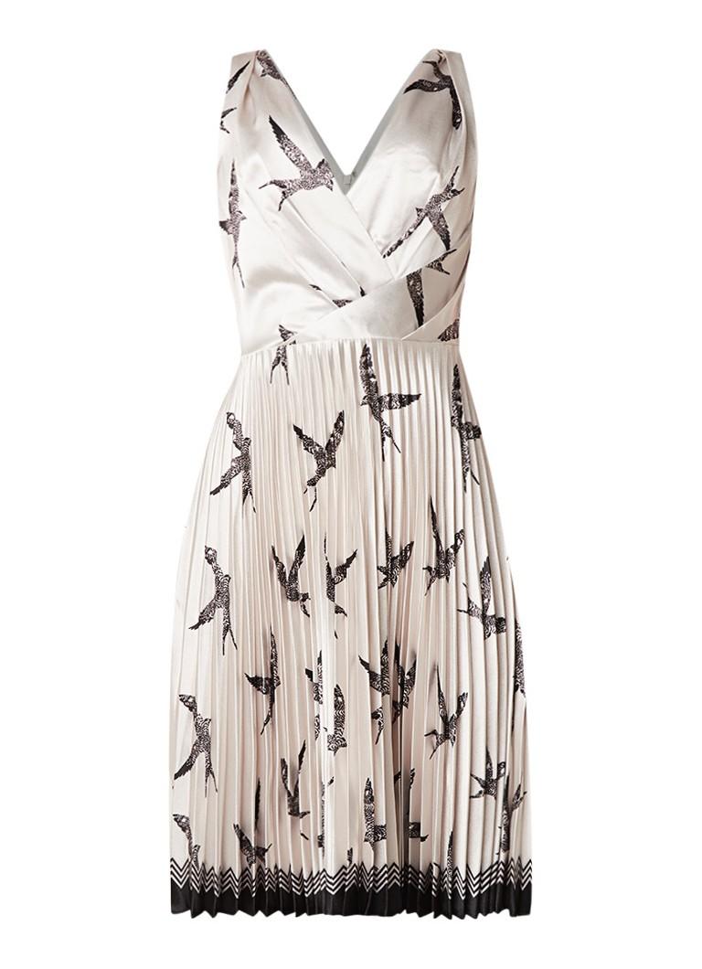 Reiss Peyton midi-jurk met vogelprint en plissé detail zilver