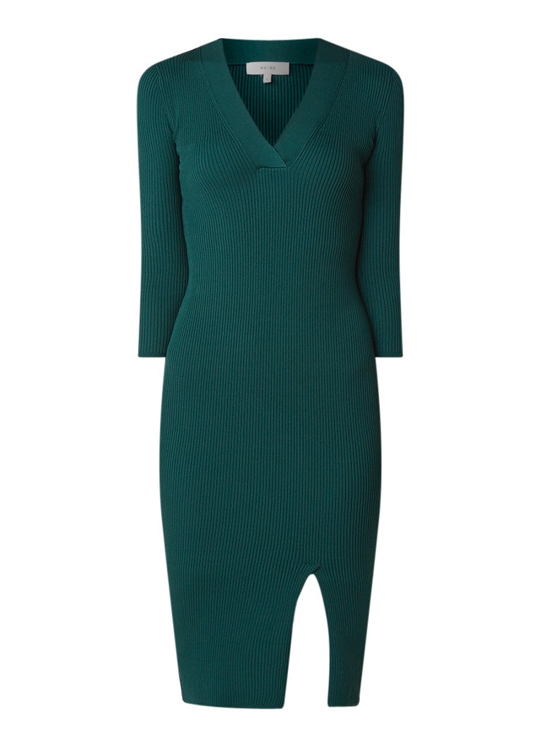Reiss Aletti ribgebreide midi-jurk met split donkergroen