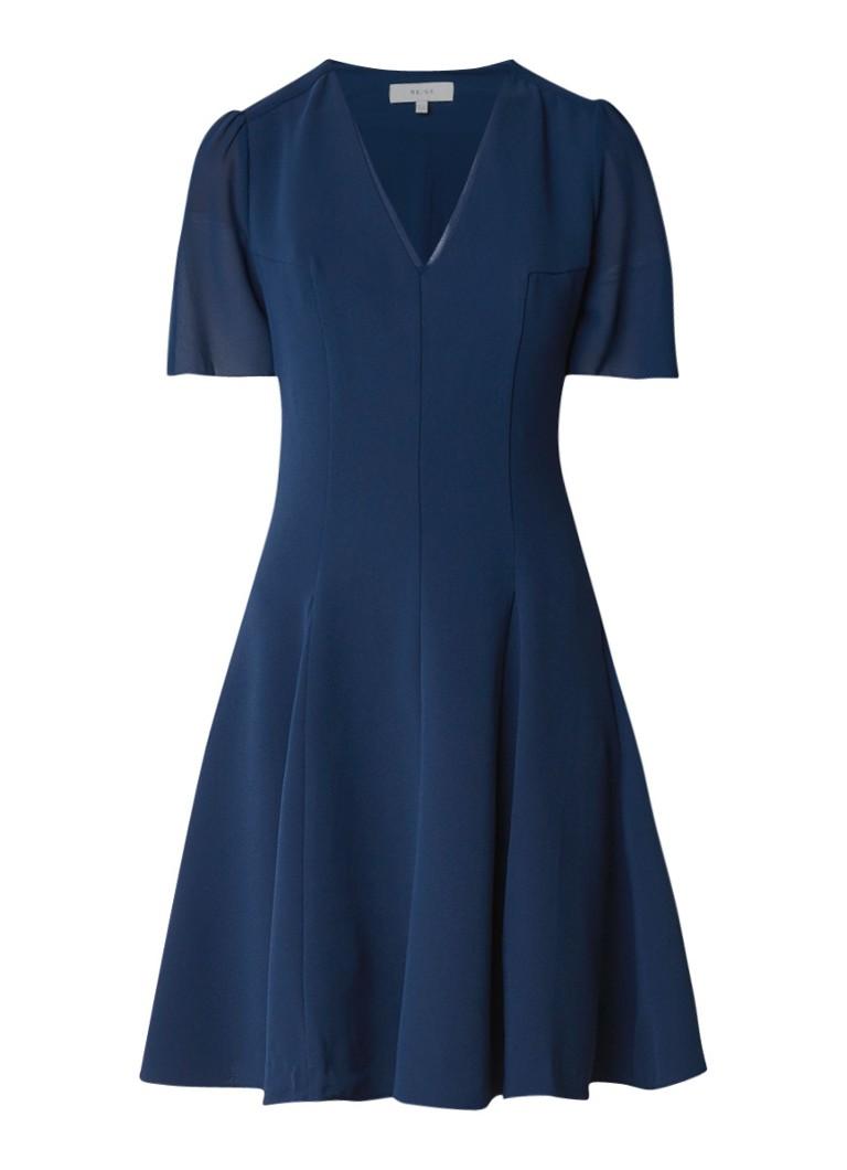 Reiss Natalia A-lijn jurk van crêpe met coupenaden donkerblauw