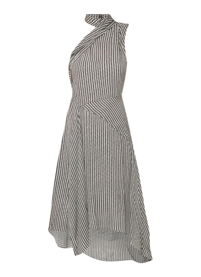 Reiss Adelia asymmetrische A-lijn jurk met pied-de-poule dessin grijs