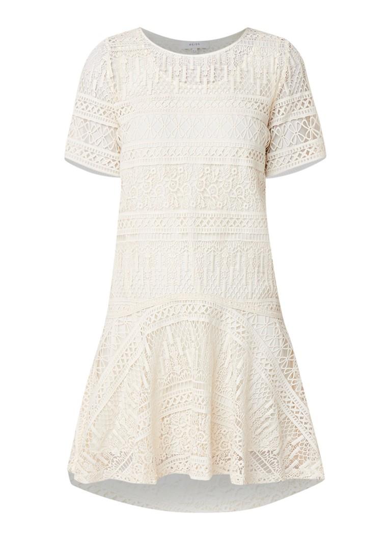 Reiss LINDA-LACE Linda losvallende jurk van kant met onderjurk DRESS gebroken wit