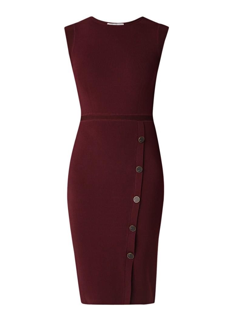 Reiss Sasha mouwloze midi-jurk met stretch en knop bordeauxrood