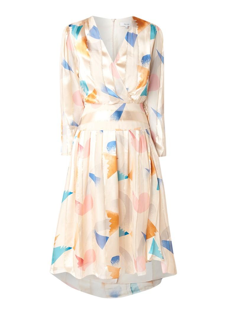 Reiss Melody A-lijn jurk in zijdeblend met grafisch dessin creme