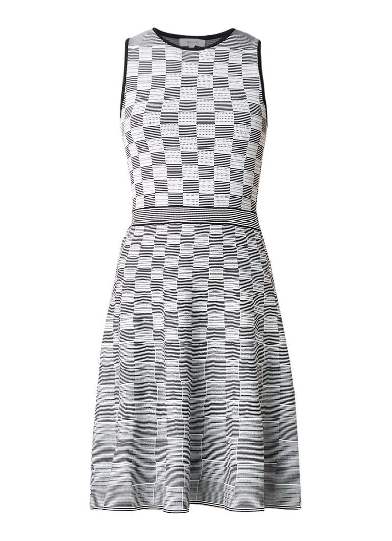 Reiss Cassie A-lijn jurk met ingeweven jaquarddessin donkerblauw