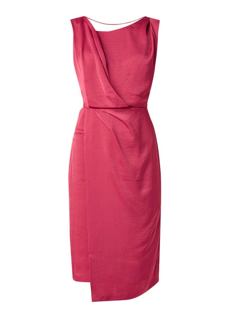 Reiss Karina mouwloze midi-jurk van satijn met rugdecolleté donkerroze