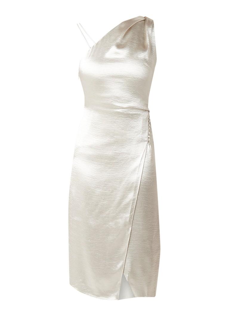 Reiss Positiano midi-jurk met glanzende finish creme