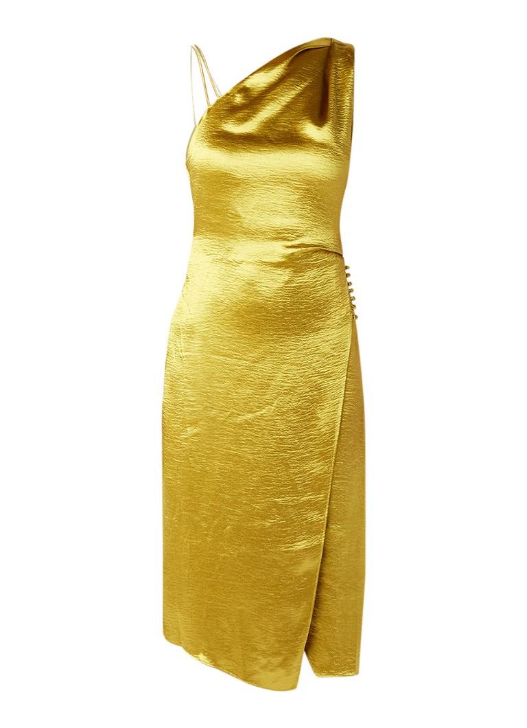 Reiss Positano one shoulder jurk van satijn goud