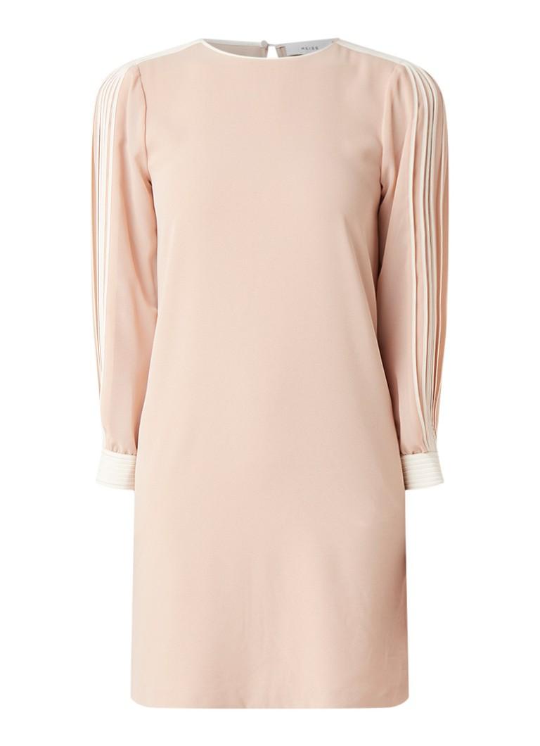 Reiss Amerie midi-jurk met plissé en semi-transparante mouw lichtroze