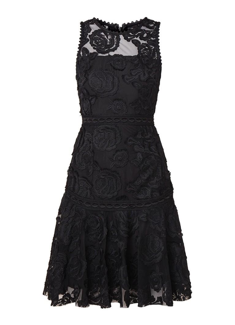 Reiss Adia A-lijn jurk van gebloemd guipure kant zwart