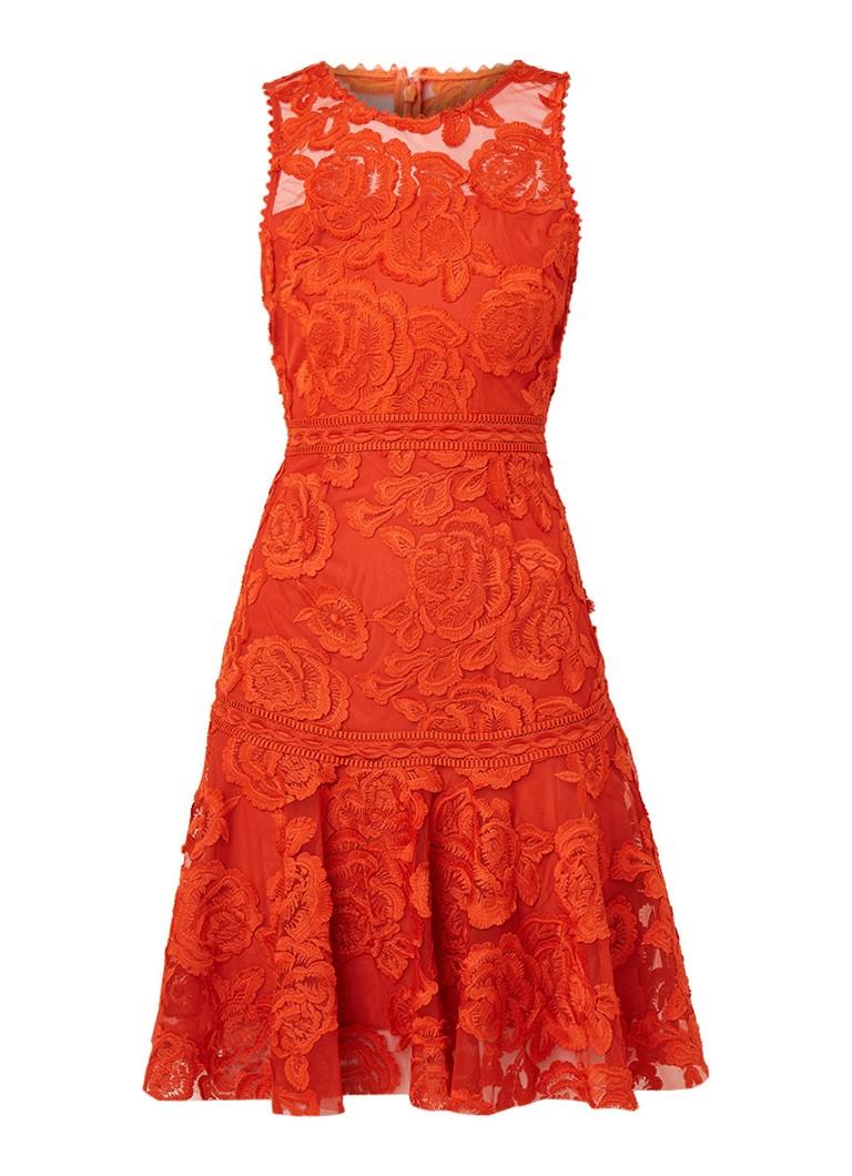 Reiss Adia A-lijn jurk van gebloemd guipure kant oranje