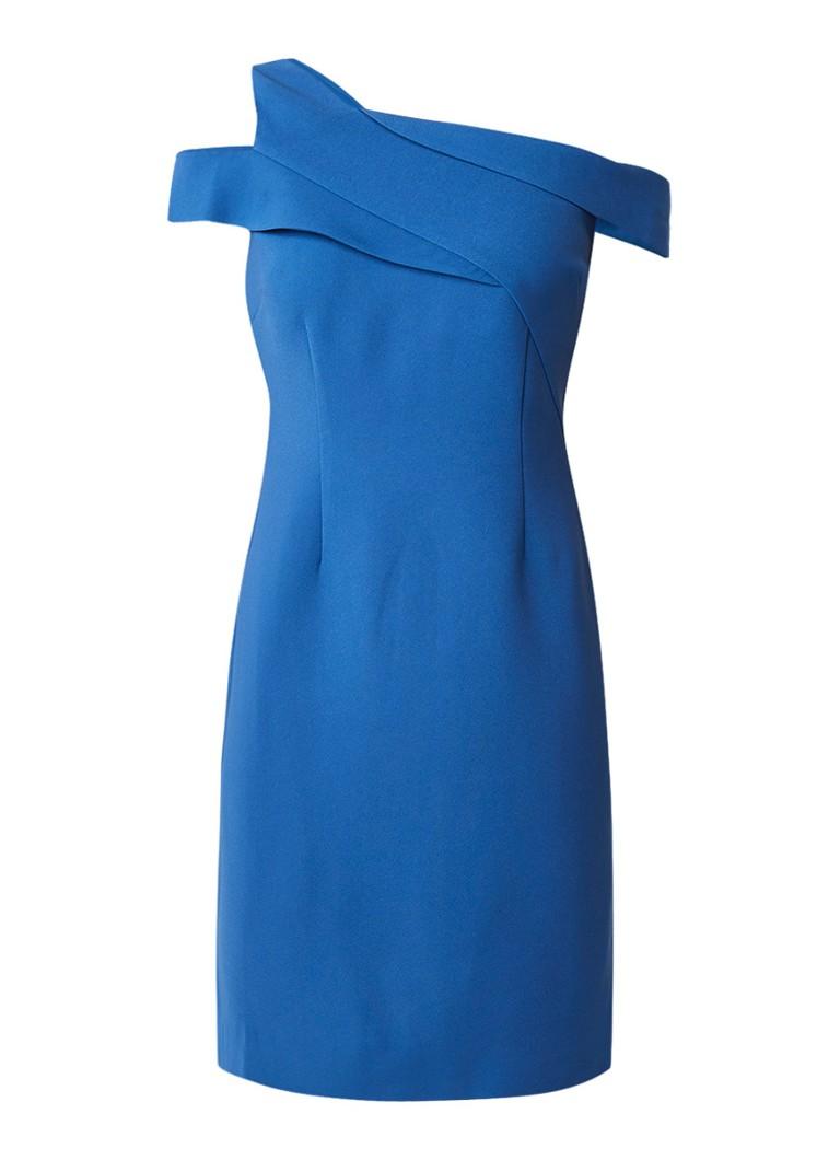 Reiss Natalie kokerjurk met asymmetrische halslijn royalblauw