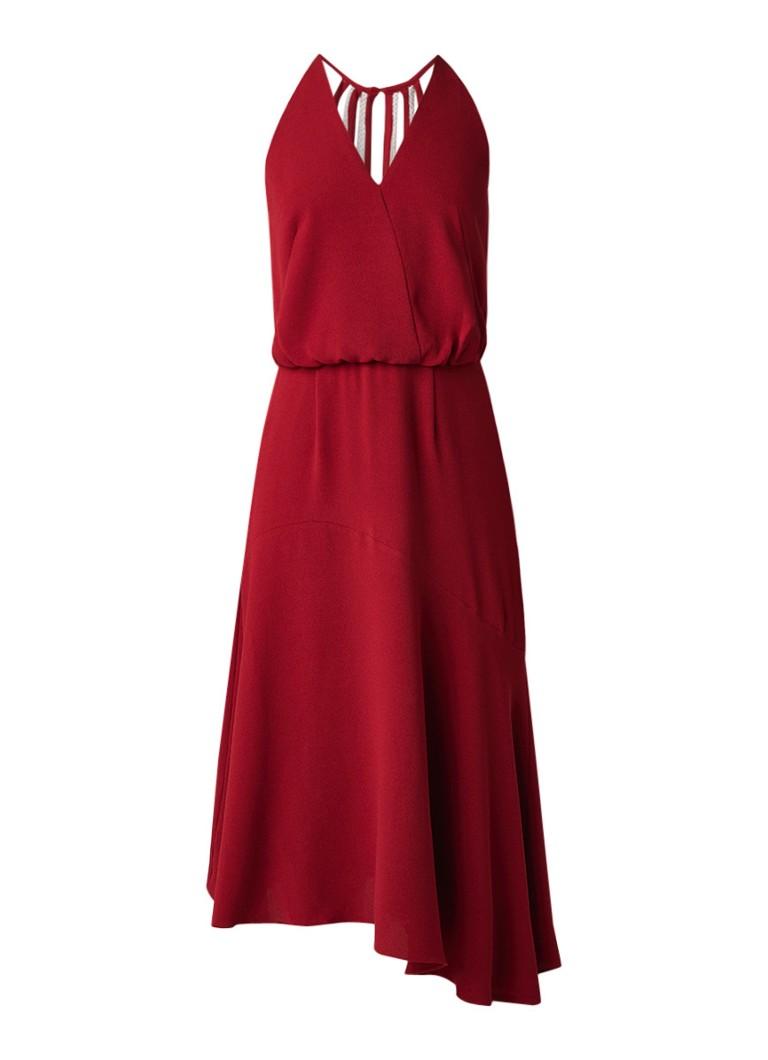 Reiss Fiona midi-jurk met asymmetrische zoom rood