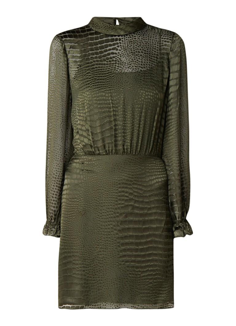 Reiss Renata mini-jurk met burn-out slangendessin donkerkhaki