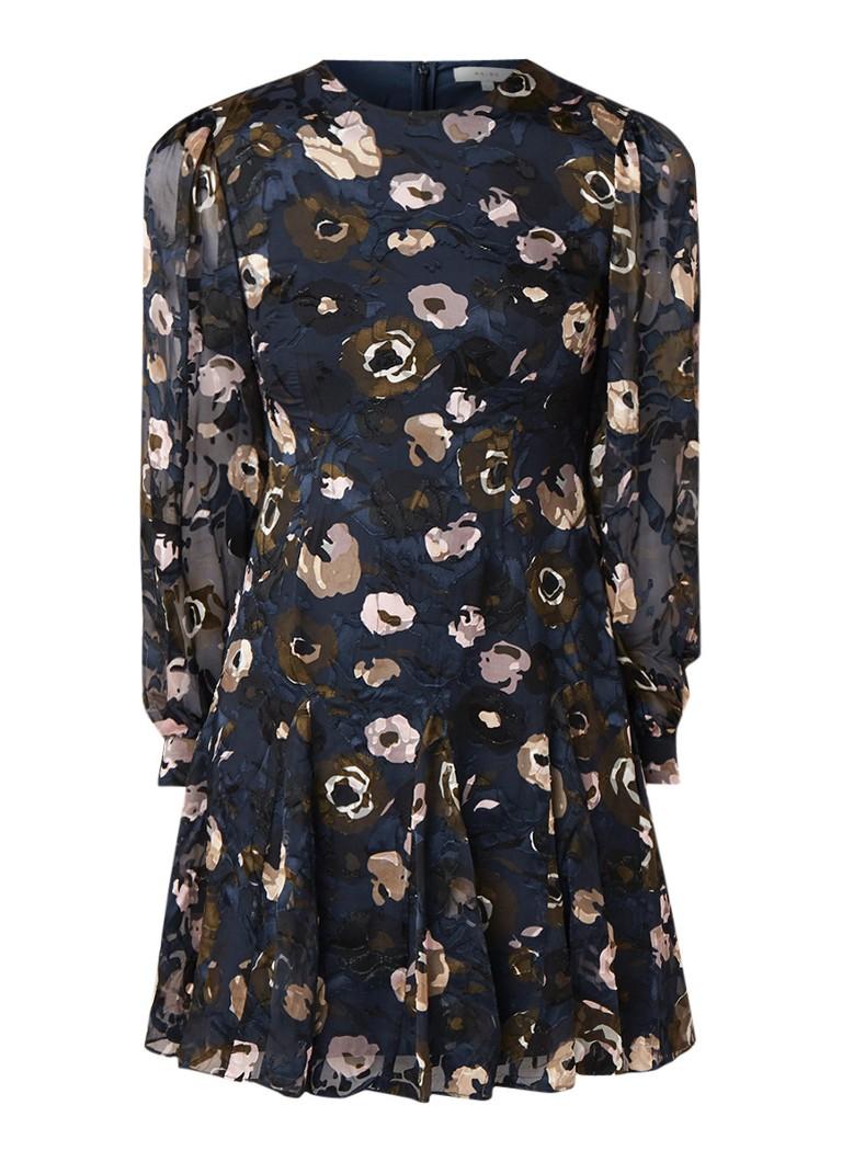 Reiss Allie midi jurk met semi-transparante mouw donkerblauw